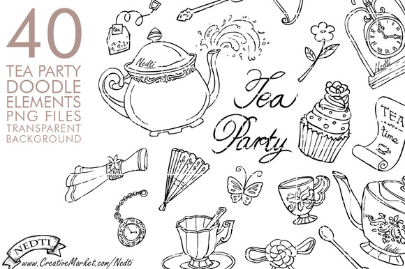 Tea Party Doodle Hand Drawn