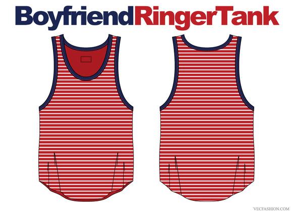 Women Boyfriend Ringer Tank Vector