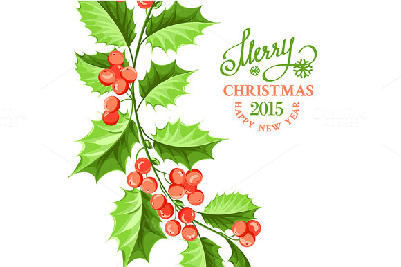 Christmas Mistletoe Branch Drawing