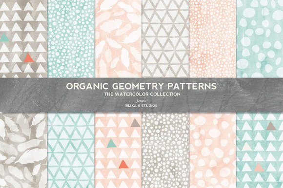Organic Geometry Watercolor Patterns