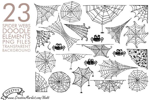 Spider Web Hand Drawn Clipart