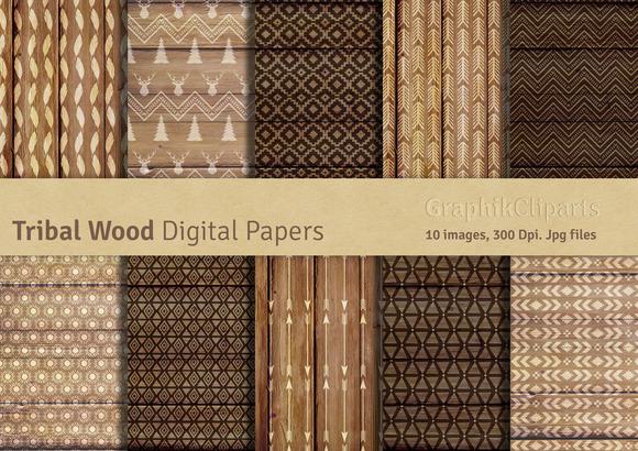 Tribal Wood Digital Papers