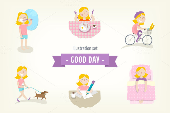 Flat Illustrations Set Good Day
