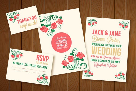 Wedding Invitation Vector Watercolor