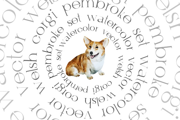 Watercolor Corgi Dog Set