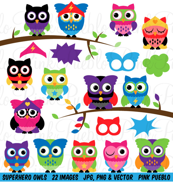 Superhero Owl Clip Art Vectors