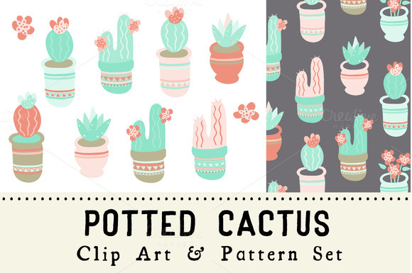 Potted Cactus Clip Art Pattern Set