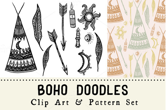 Boho Doodles Clip Art Pattern Set