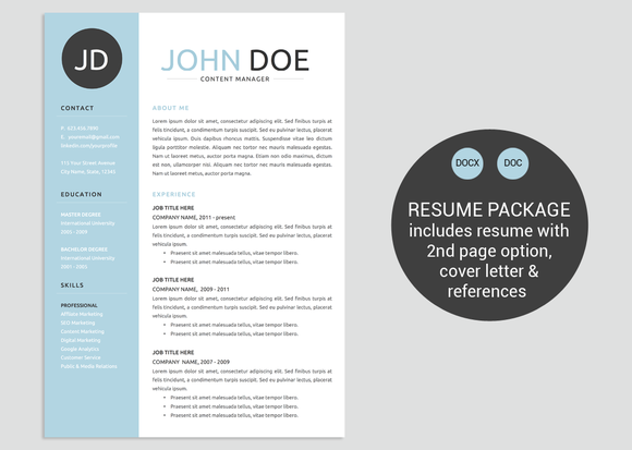 Classic Blue Word Resume Template