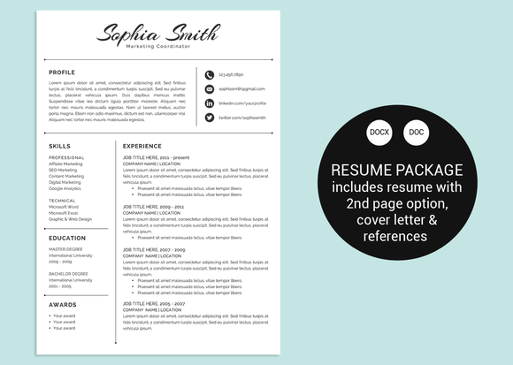 Classic Script Word Resume Template