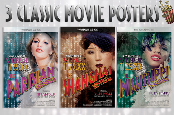 3 Retro Vintage Movie Posters