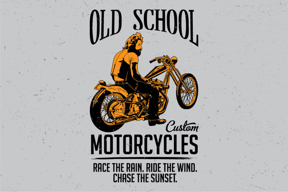 Old School Custom Motorcycles Label