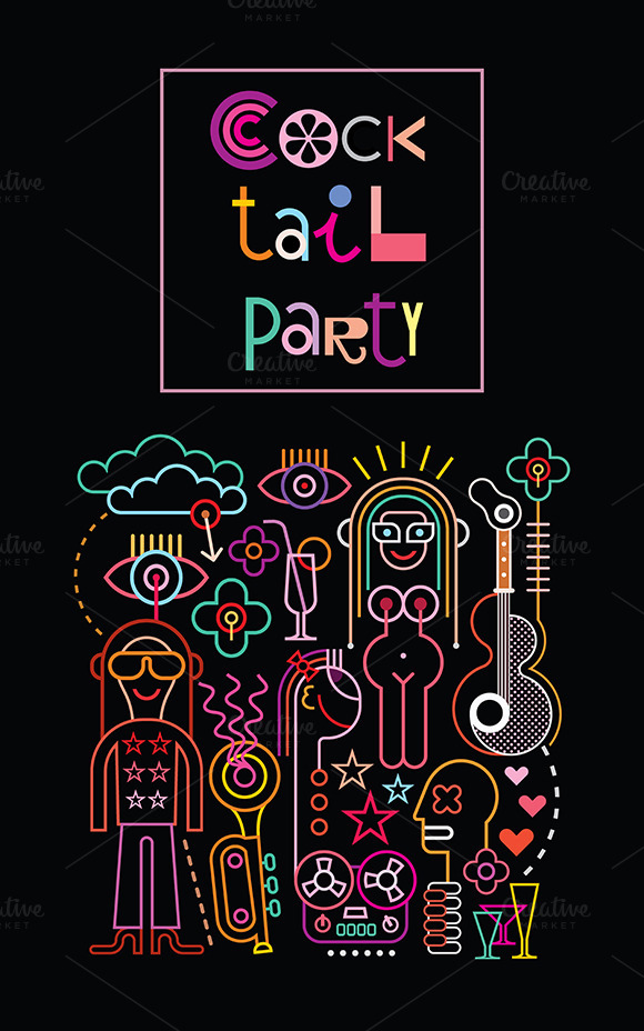 Cocktail Party Vector Illustration