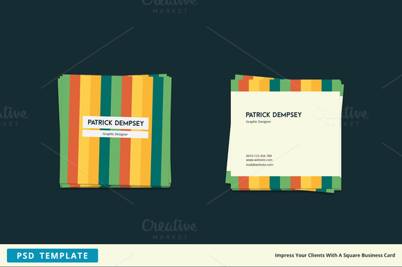 Stripes Square Business Card