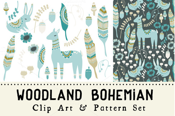 Woodland Bohemian Clip Art Pattern