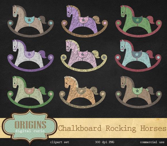Chalkboard Rocking Horses Clipart