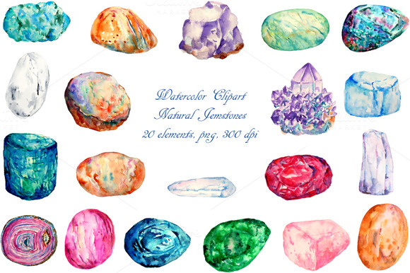 Watercolor Natural Gemstones