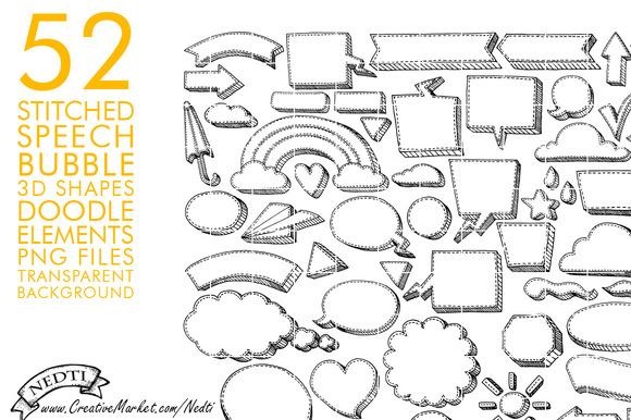 Stitched Speech Bubble Doodle PNG