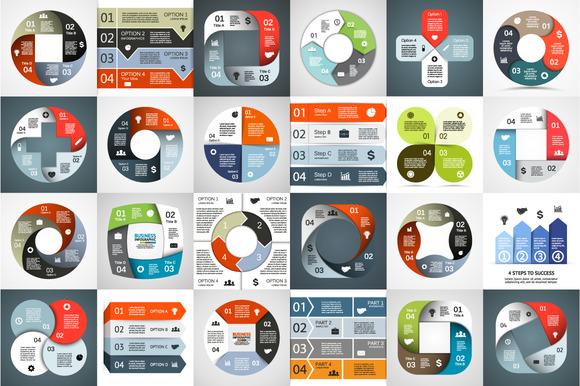 24 Infographics For 4 Options Set 1