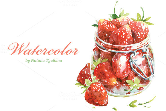 Watercolor Strawberry In Jar