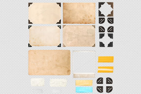 Photo Frame Corners Tape Strips PNG
