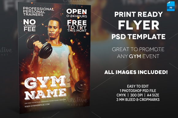 GYM A4 Flyer Template