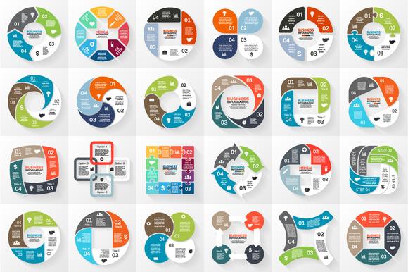 24 Infographics For 4 Options Set 2