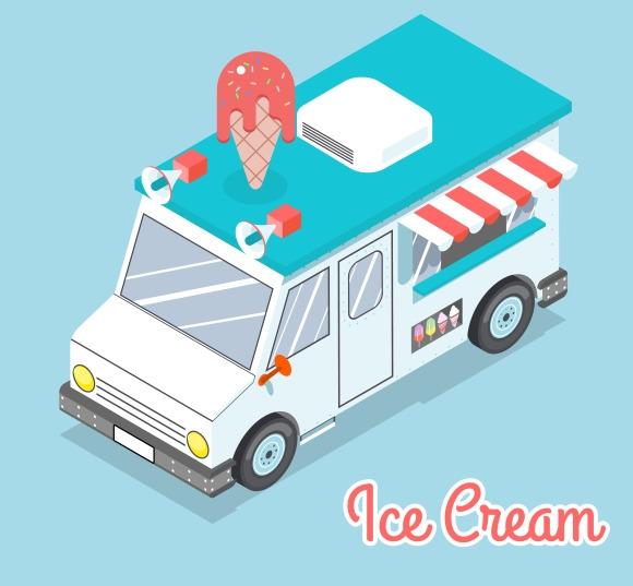 Flat 3D Isometric Ice Cream Truck