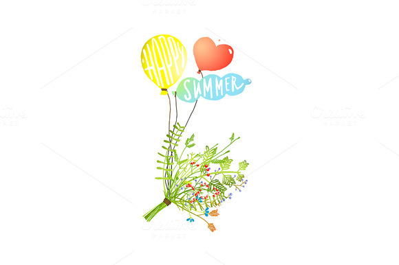 Colored Balloons And Summer Bouquet