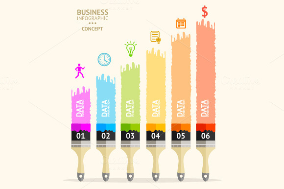 Vector Business Brush Infographics