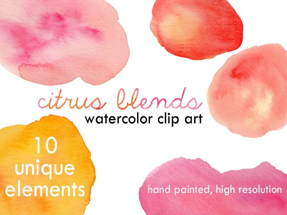 Citrus Blends Watercolor Clip Art