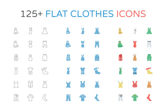 125 Flat Clothes Icons