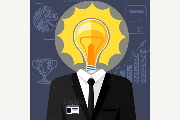 Bulb Headed Man Businessman In Suit