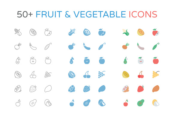 50 Fruit And Vegetable Icons