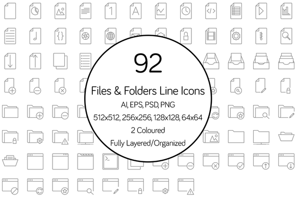 Files And Folders Line Icon Set