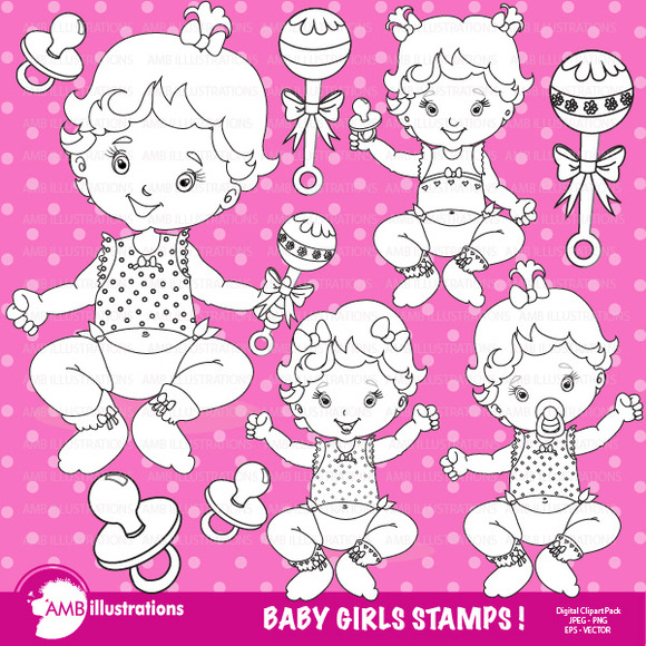 Baby Girl Stamps Clipart AMB-831