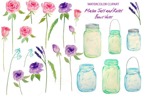 Watercolor Wedding Mason Jars Roses