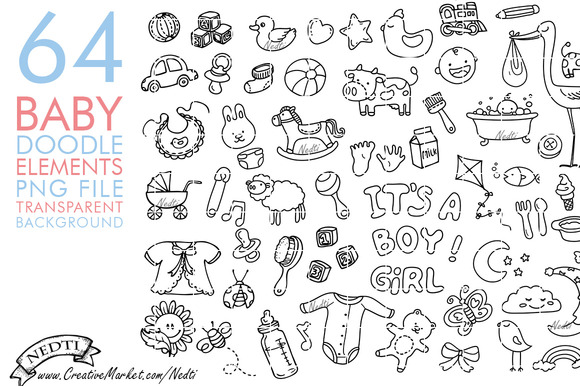 Baby Doodle Hand Drawn Clip Art