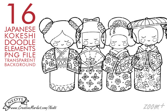 Japanese Doll Kokeshi Doodle Clipart