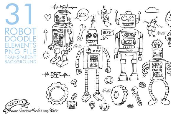 Robots Doodle Hand Drawn
