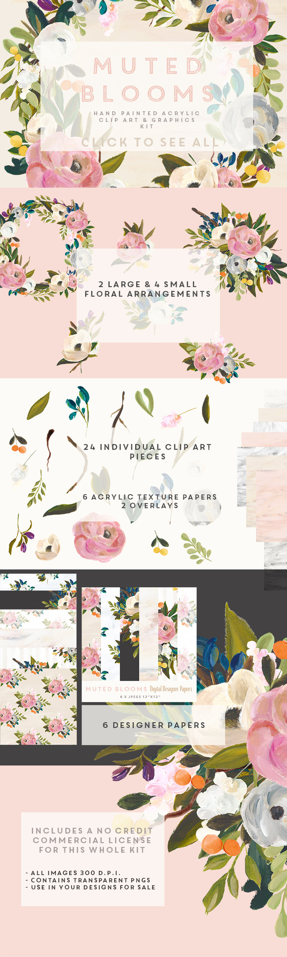 Acrylic Clip Art Kit Muted Blooms