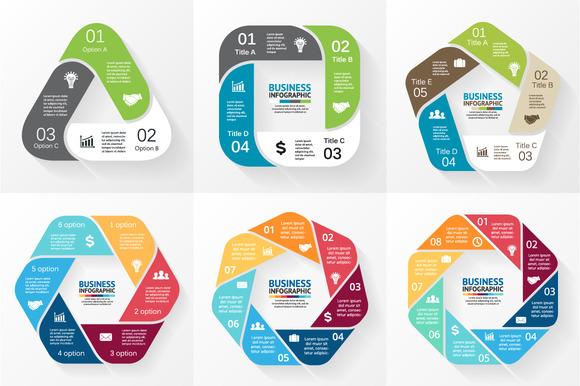 6 Flat Geometric Round Infographics