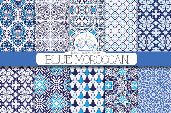 BLUE MOROCCAN Digital Paper
