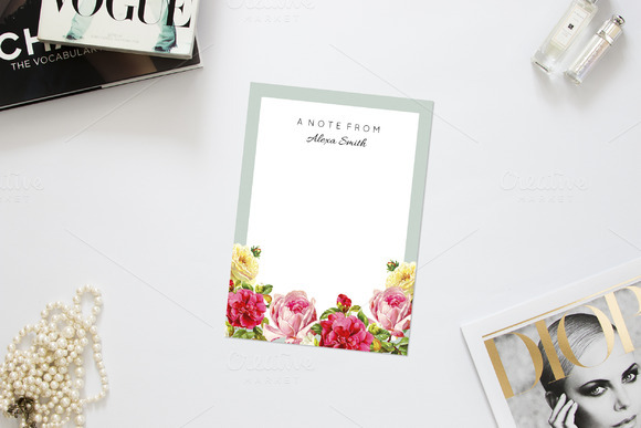 Fresh Floral Note Card Template