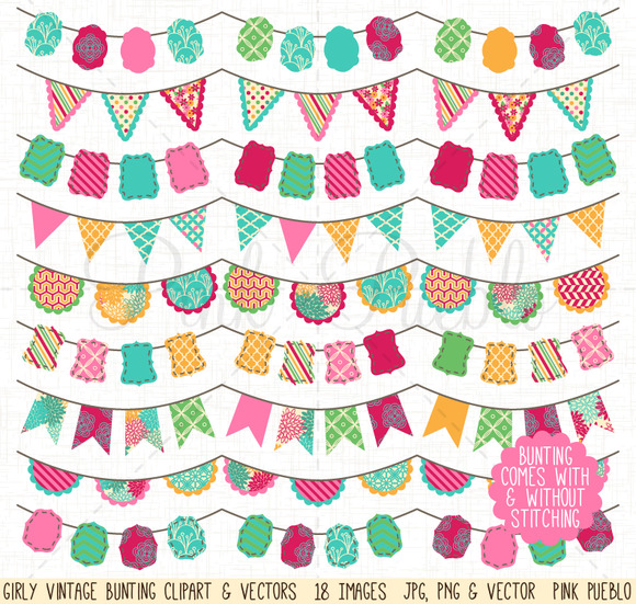 Girly Bunting Clip Art Vectors