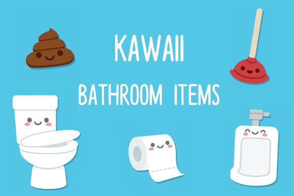 Cute Cartoon Bathroom Objects