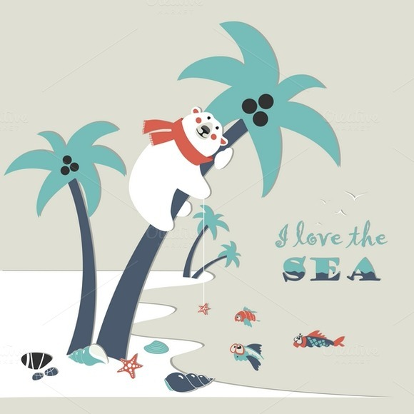 Cute Polar Bear Climbed A Palm Tree