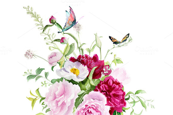 Watercolor Flowers With Butterflies
