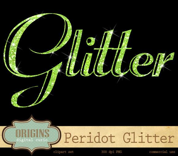 Peridot Green Glitter Alphabet