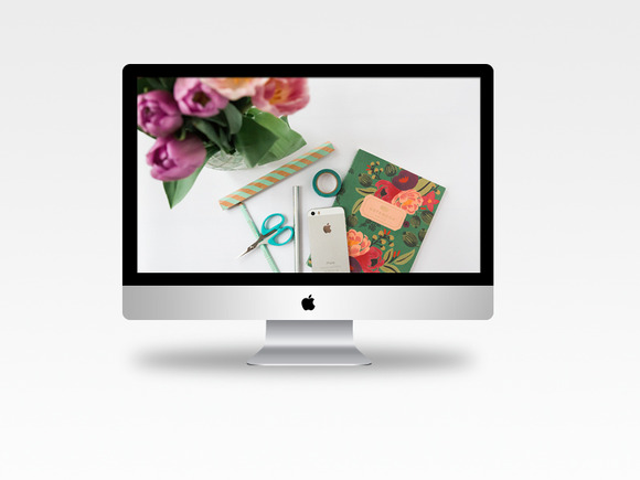 Flowery Styled Desktop Stock Photo